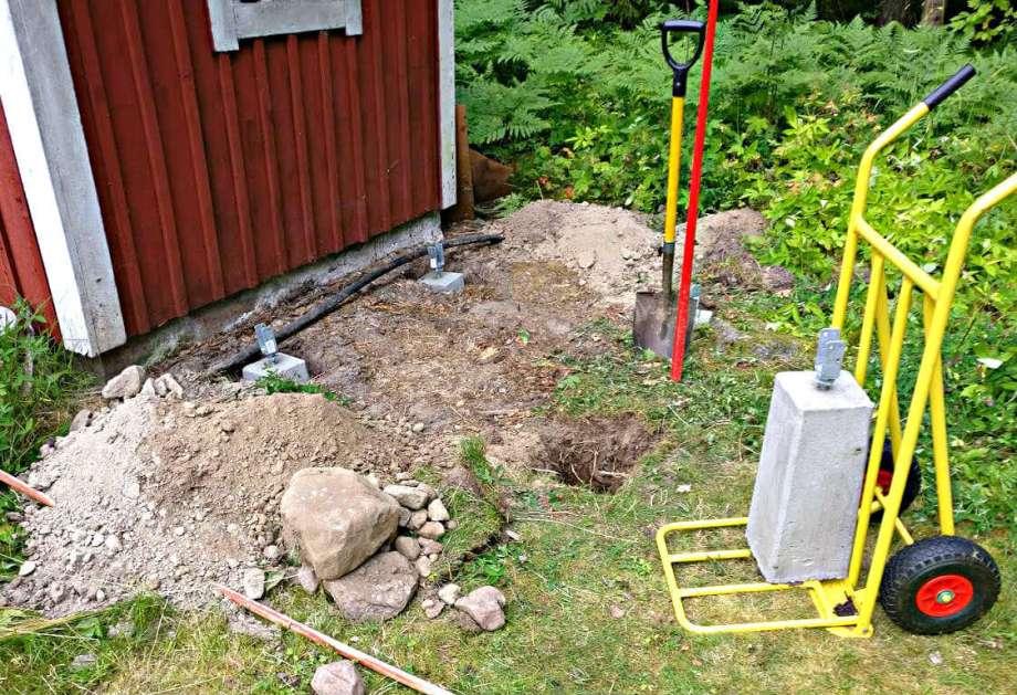 grävjobb underlag kompostbehållare