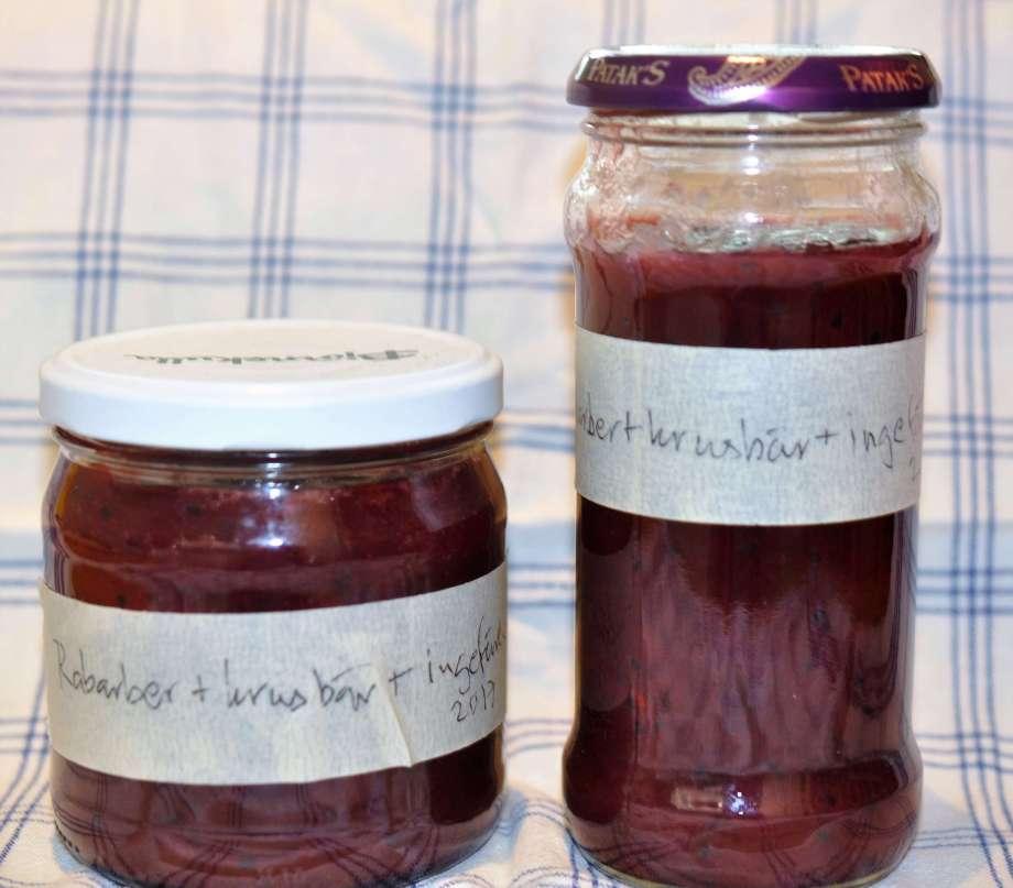 rabarber, krusbär och ingefärssylt