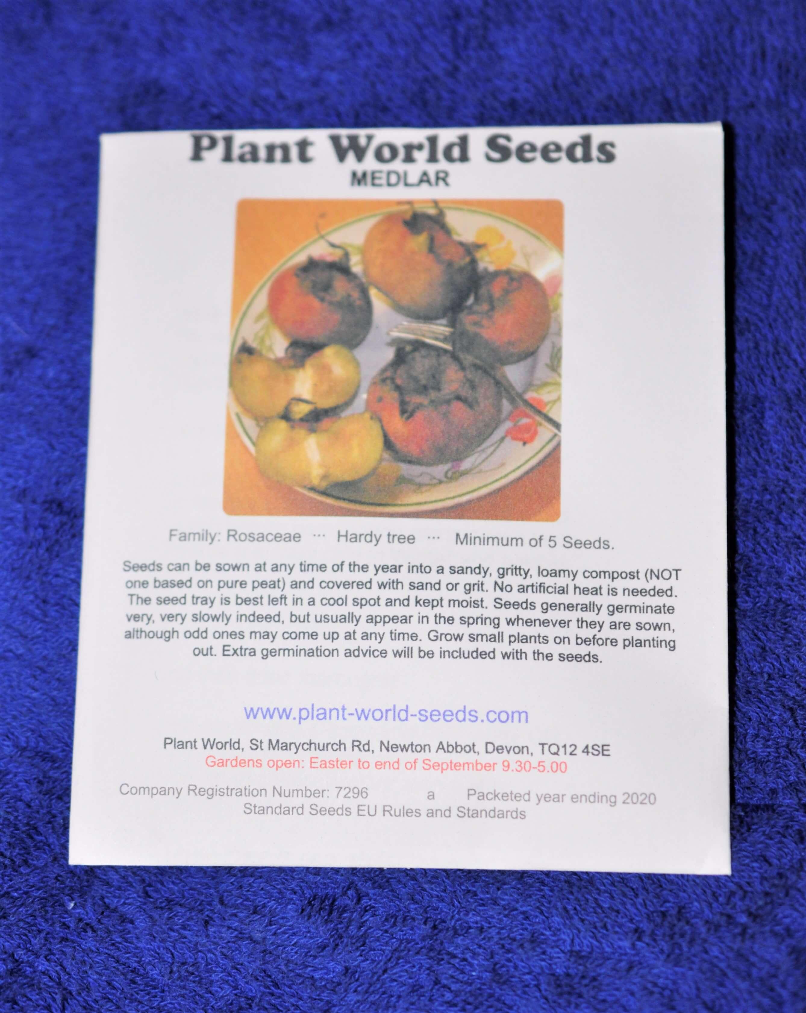 förpackning med mispelfrön från Plant World Seeds