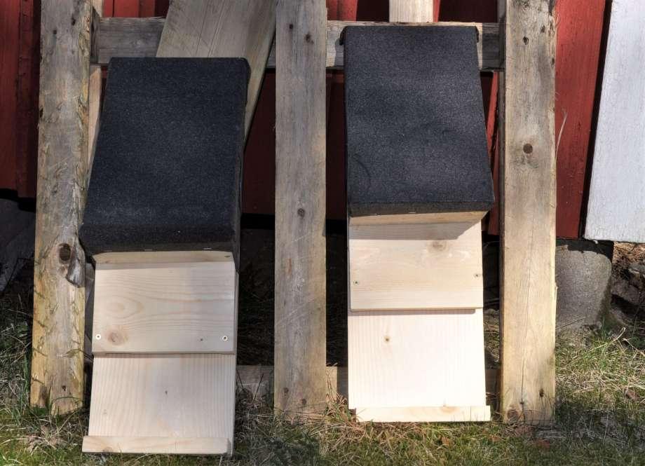 två fladdermusholkar står på marken, lutade mot en pallkrage